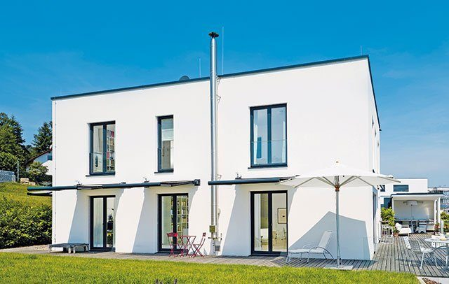 Weberhaus mit Flachdach