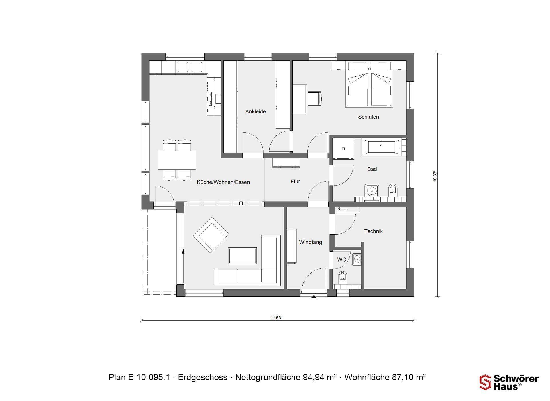 Plan E 10-087.1 - Eine Nahaufnahme einer Uhr - Gebäudeplan