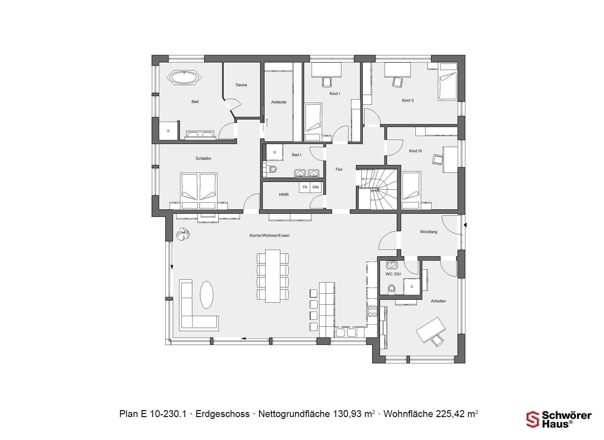 Plan E 10-225.1 - Eine Nahaufnahme einer Uhr - Gebäudeplan