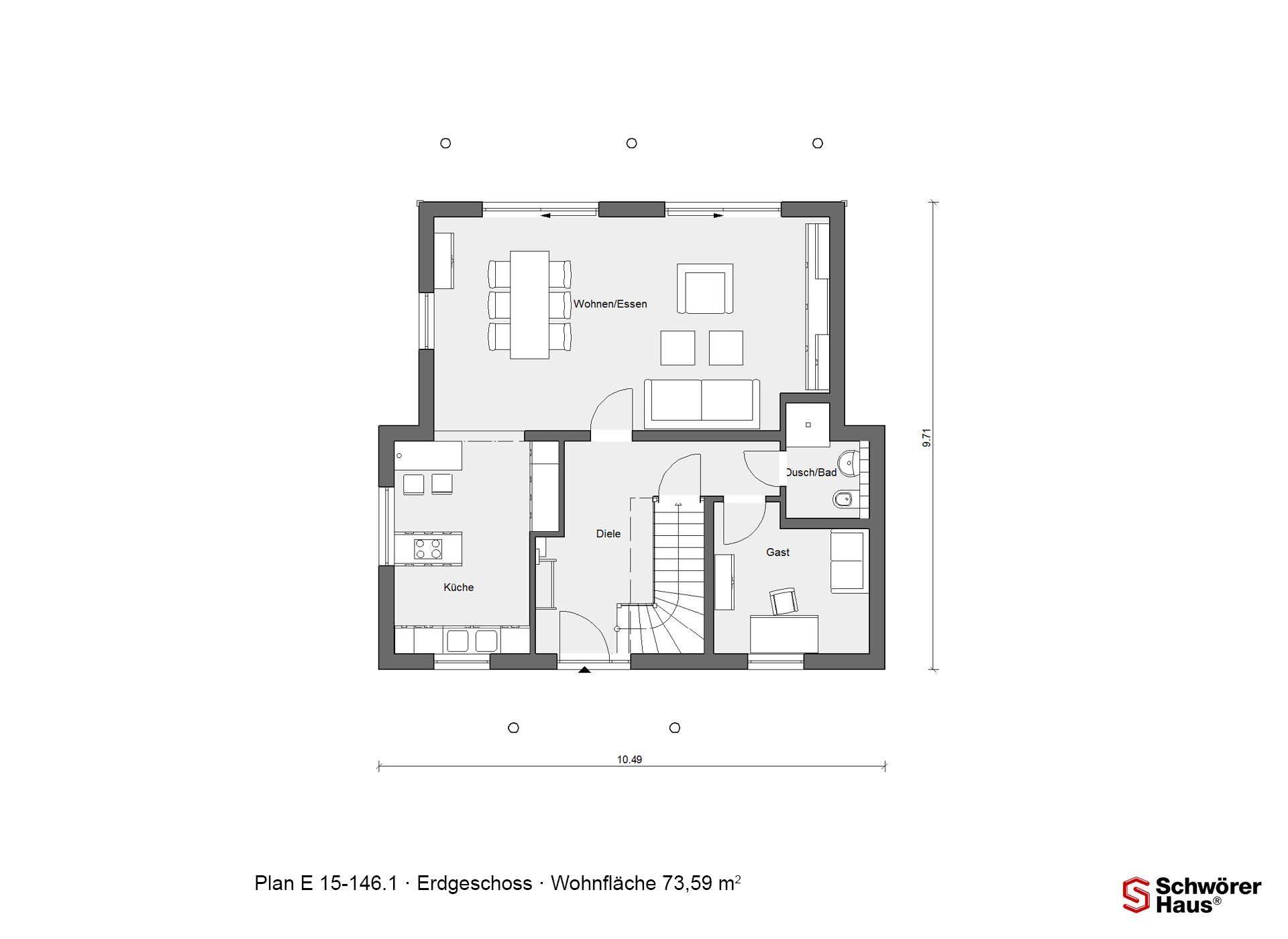 Plan E 15-146.1 - Eine Nahaufnahme von einem Logo - Haus