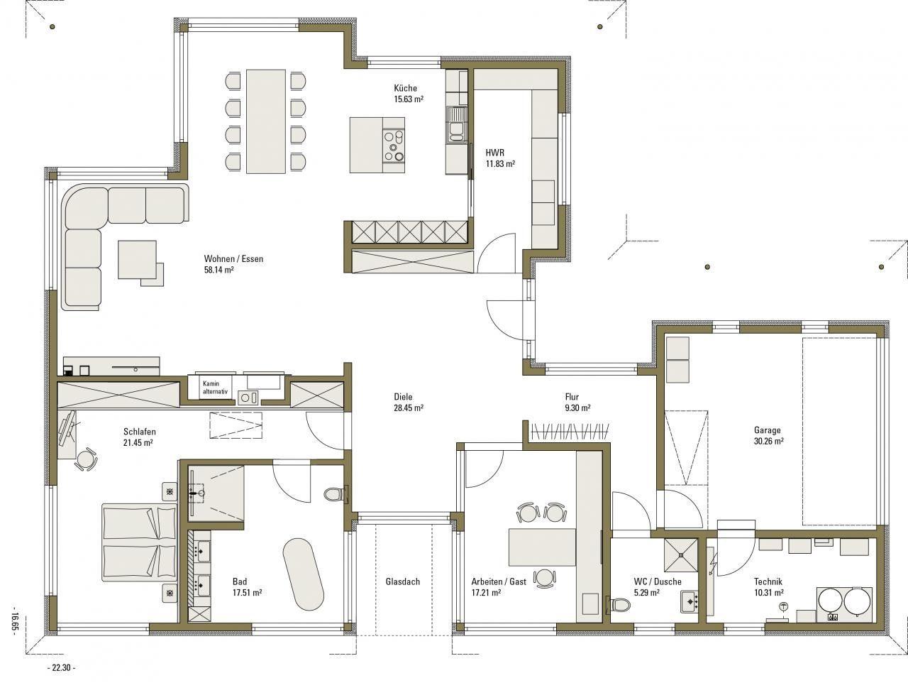 Musterhaus Bungalow Vita - Eine Nahaufnahme von einer Karte - Gebäudeplan