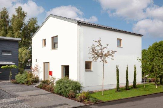 Musterhaus Mono - Ein Haus mit Bäumen im Hintergrund - SchwörerHaus KG Musterhaus Mannheim