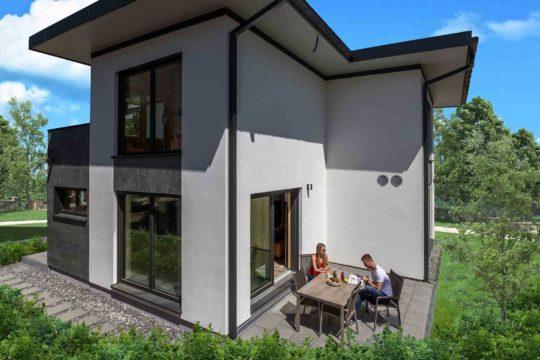 Elegant 168 (Musterhaus Fellbach) - Eine Person, die vor einem Haus steht - Haus