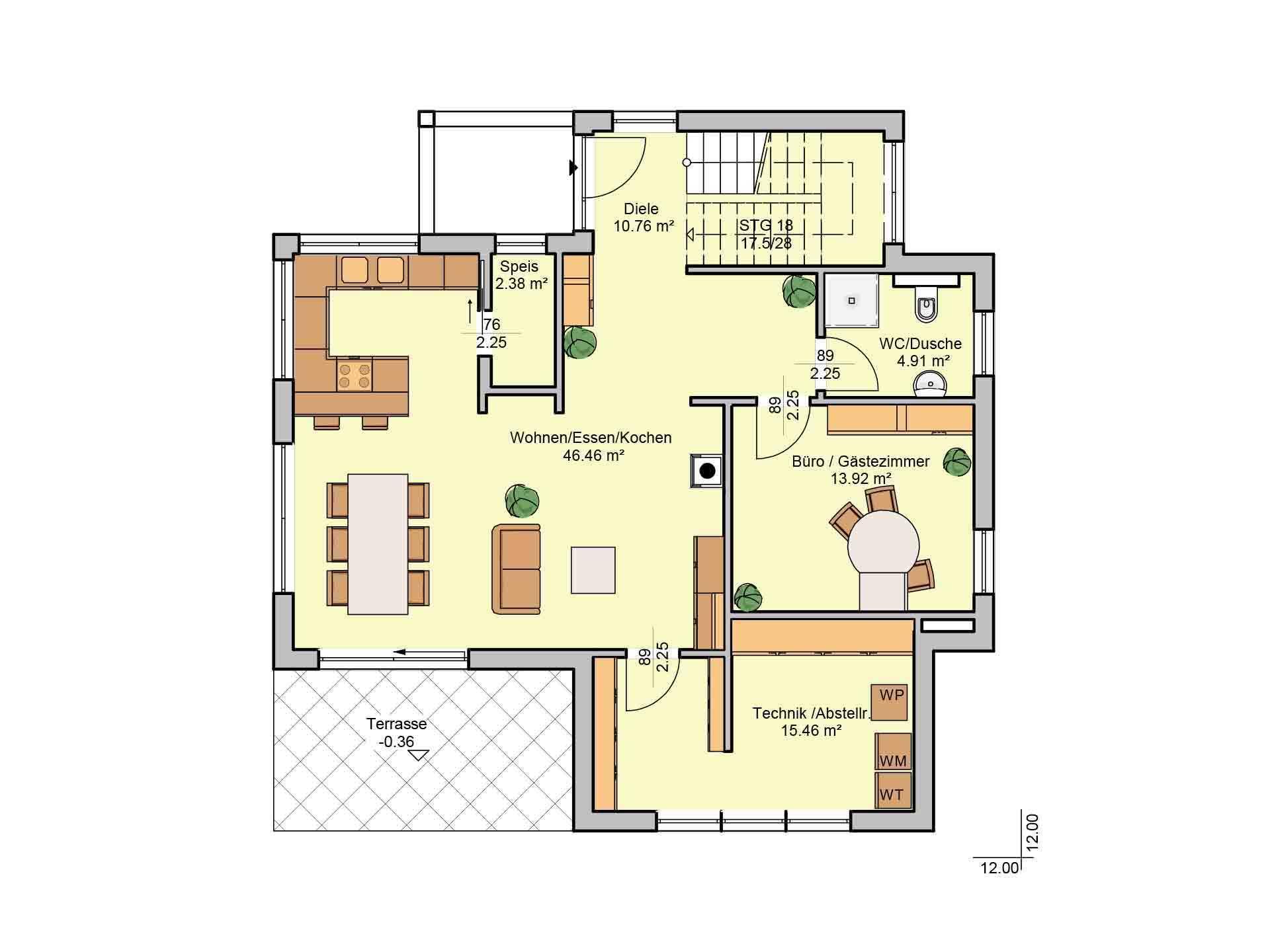 Elegant 168 (Musterhaus Fellbach) - Eine Nahaufnahme einer Uhr - Gebäudeplan