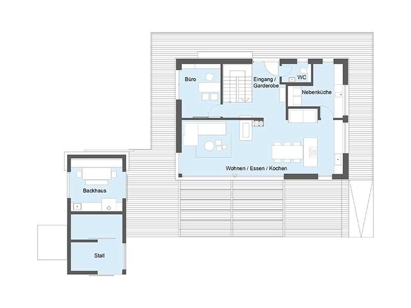 Musterhaus Heimat 4.0 - Ein Screenshot eines Videospiels - Gebäudeplan