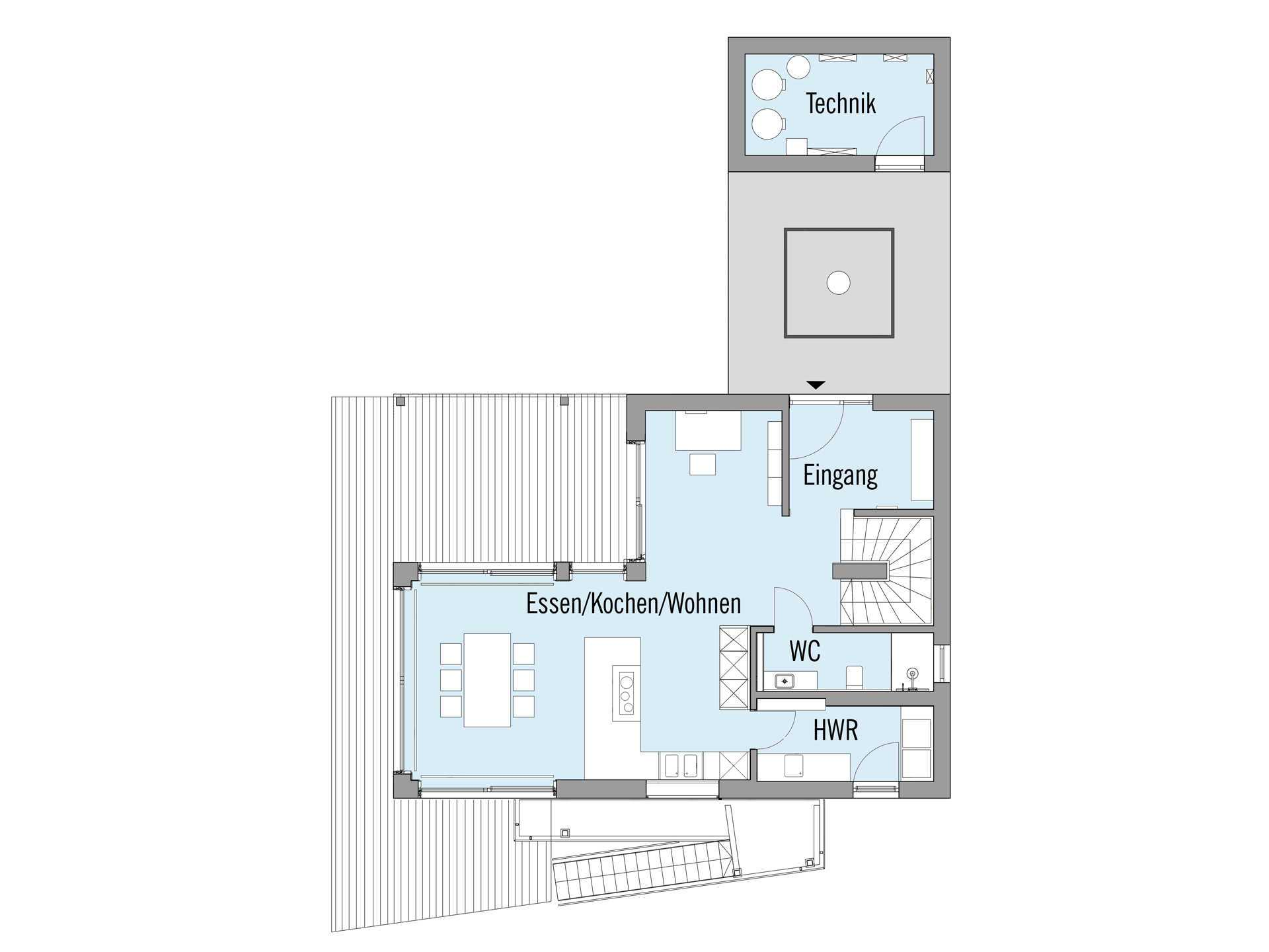 Haus am See - Eine Nahaufnahme eines Geräts - Gebäudeplan