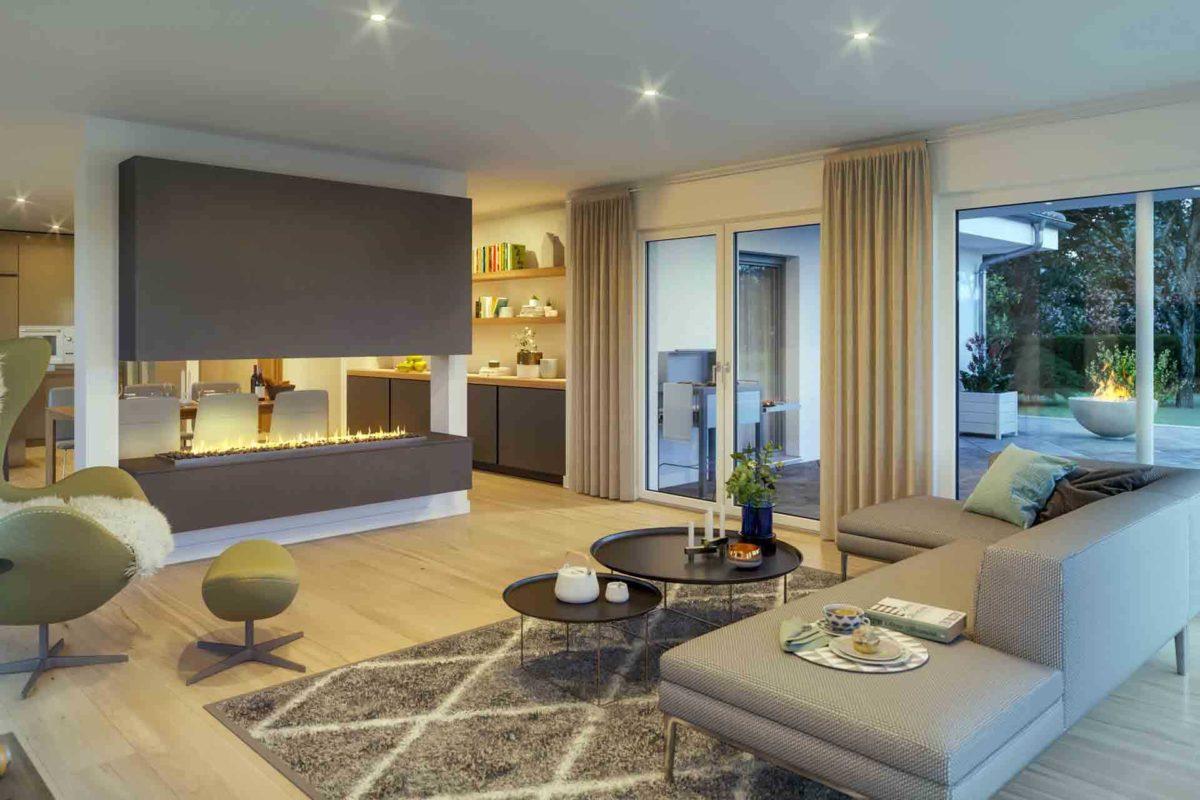 Ambience 110 v3 - Ein Wohnzimmer mit Möbeln und einem großen Fenster - Bungalow