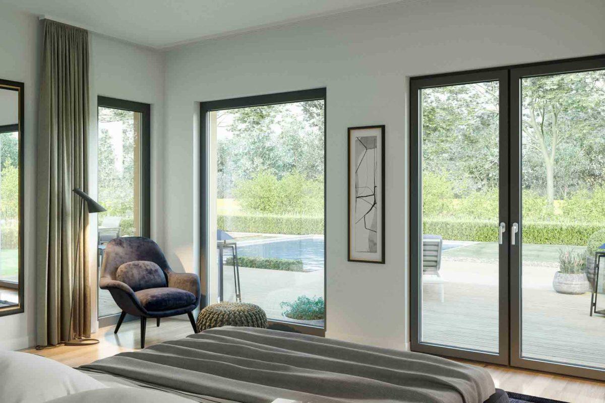 Ambience 77 v4 - Ein Wohnzimmer mit Möbeln und einem großen Fenster - Bungalow
