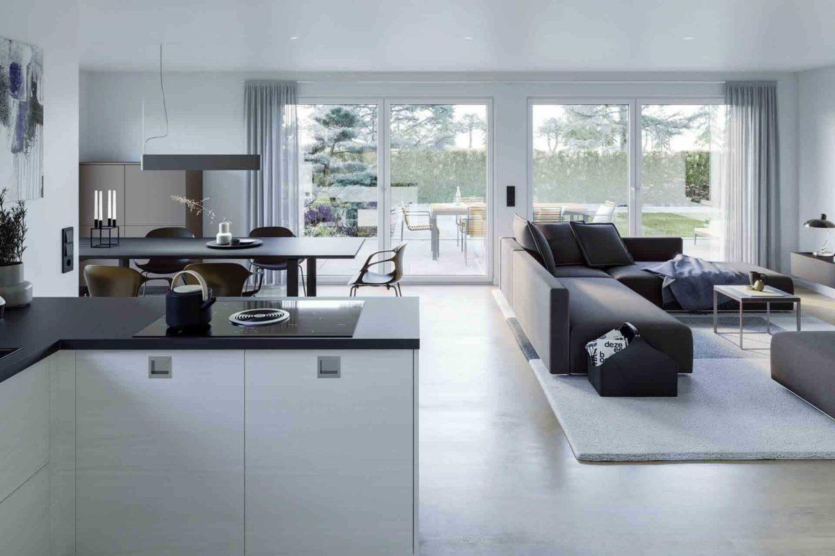 Ambience 77 v4 - Eine Ansicht eines mit Möbeln gefüllten Wohnzimmers und eines großen Fensters - Bungalow