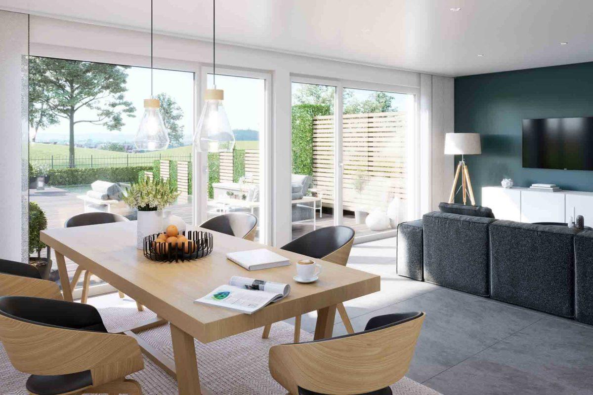 Celebration 122 v2 - Ein Wohnzimmer mit Möbeln und einem großen Fenster - Duplex