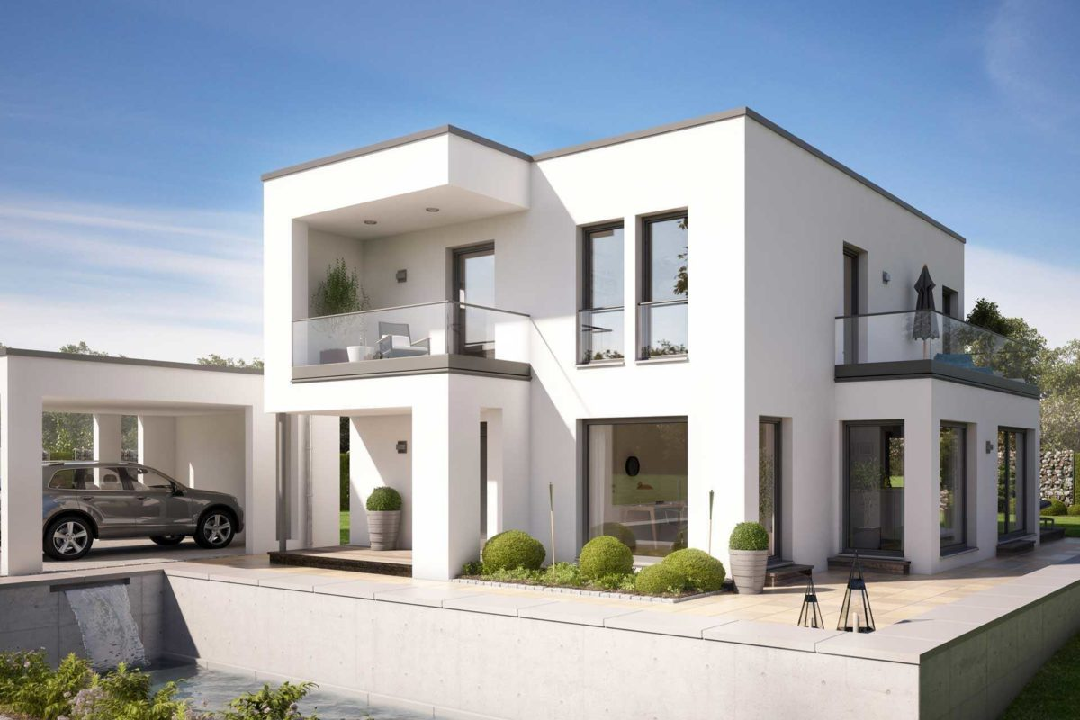 Evolution 134 v8 - Ein großes weißes Gebäude - Haus