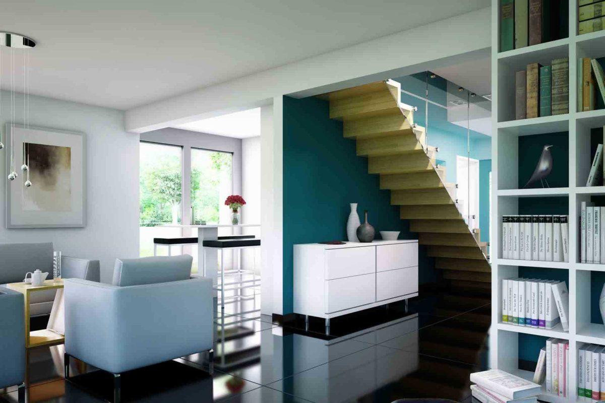 Evolution 134 v8 - Ein Raum voller Möbel und ein großes Fenster - Haus-Plan