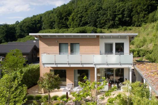 Kundenhaus Günzel - Ein haus mit büschen vor einem gebäude - Haus