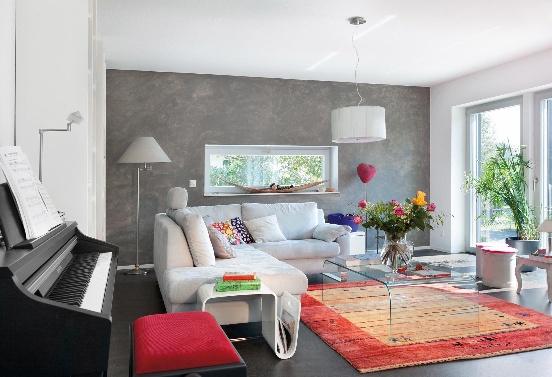 Plan E 20-186.1 - Ein Wohnzimmer mit Möbeln und einem Kamin - SchworerHaus KG
