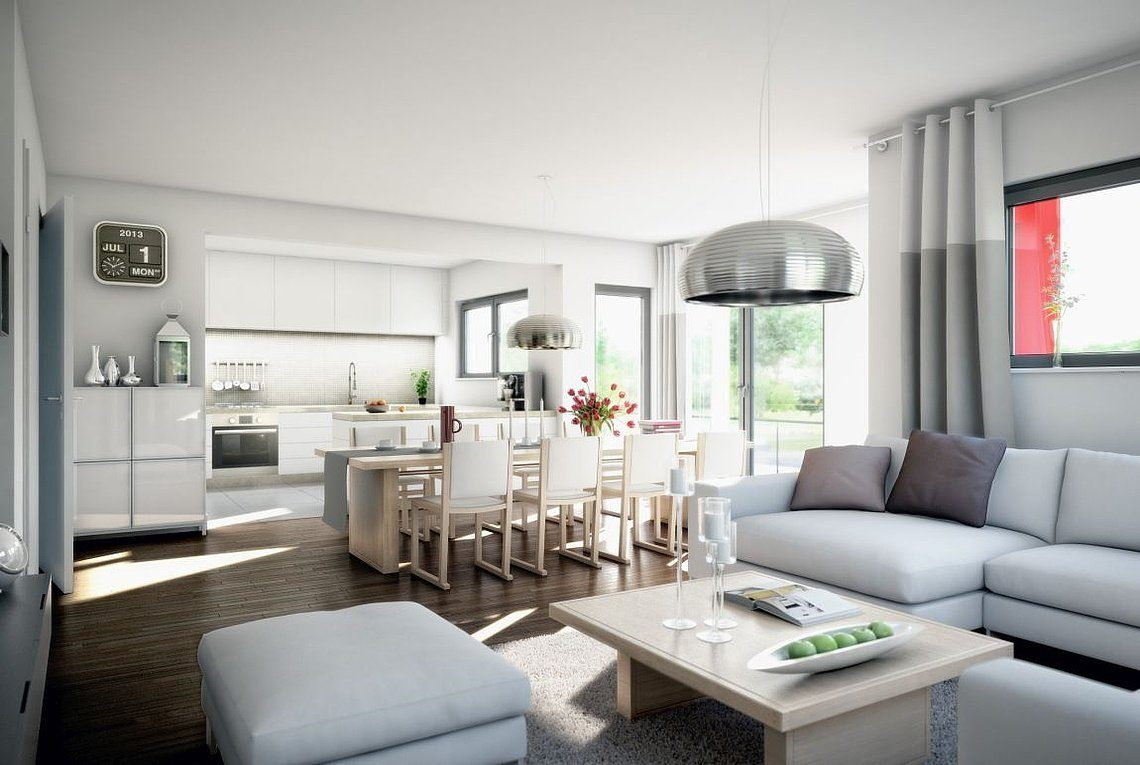 Stadtvilla Atlanta - Ein Wohnzimmer mit Möbeln und einem großen Fenster - Vorhang