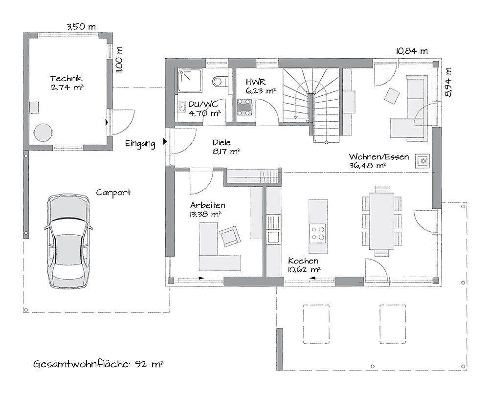 Musterhaus Lanos Wien - Eine Nahaufnahme von einer Karte - Gebäudeplan