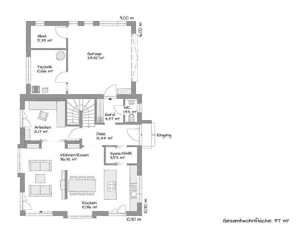 Stadtvilla SETROS 1.1620 - Eine Nahaufnahme von einer Karte - Gebäudeplan