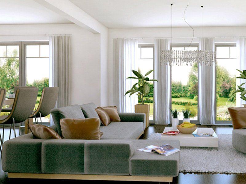 Classic 184 - Ein Wohnzimmer mit Möbeln und einem großen Fenster - Haus