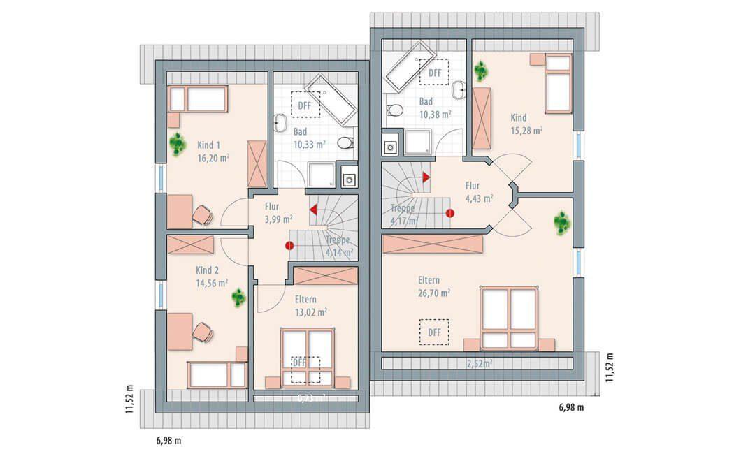 Edition 122/124 Doppelhaus - Eine Nahaufnahme einer Uhr - Gebäudeplan