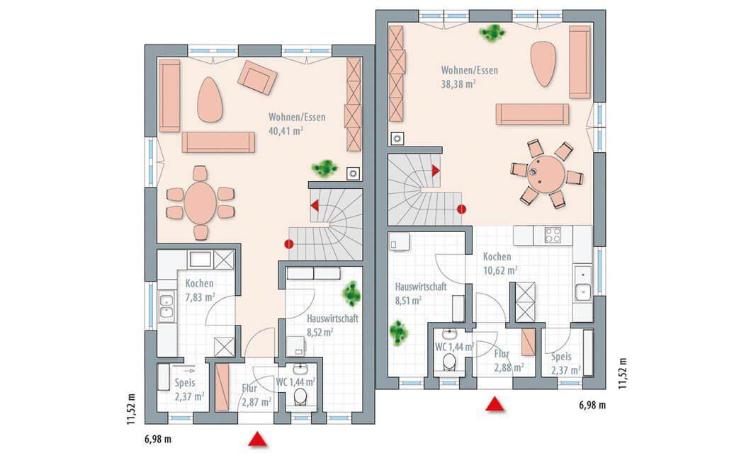 Edition 122/124 Doppelhaus - Eine Nahaufnahme von einer Karte - Gebäudeplan