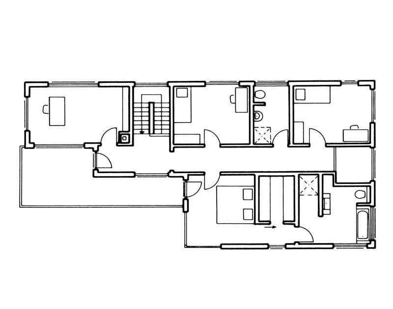 Grundriss OG von Bauhaus Unikat Fingerhaus