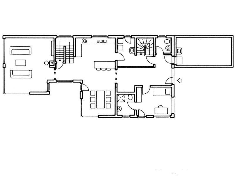 Grundriss EG von Bauhaus Unikat Fingerhaus