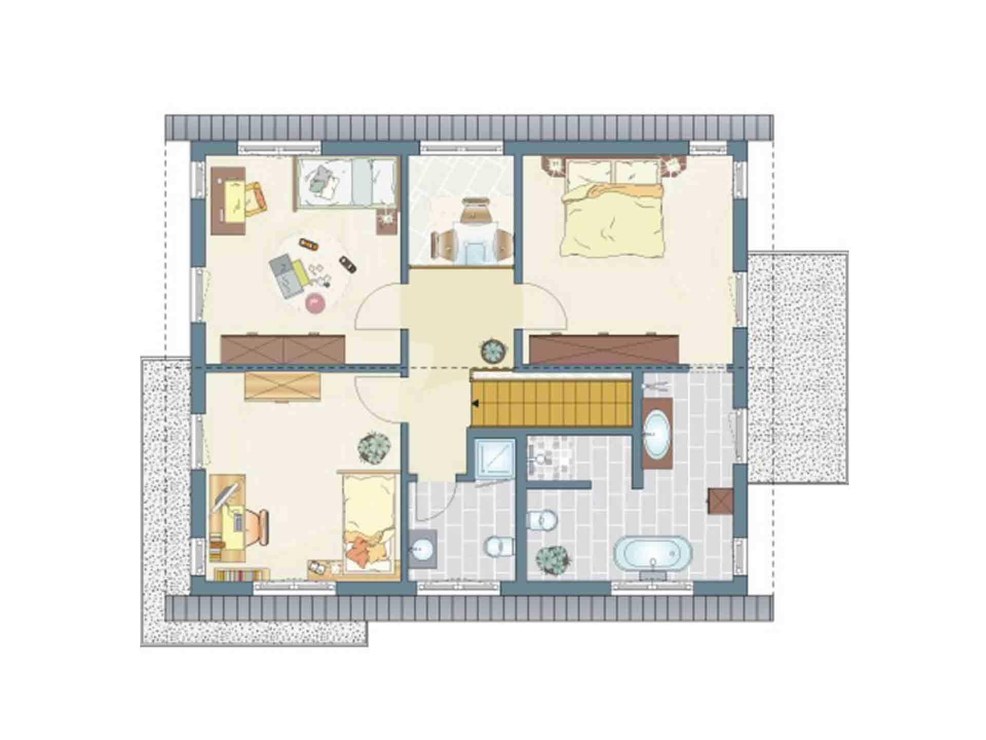 Musterhaus Hannover – NEO 300 - Eine Nahaufnahme von einem Stück Papier - Gebäudeplan
