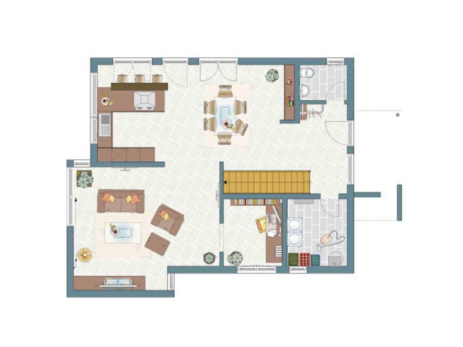 Musterhaus Hannover – NEO 300 - Eine Nahaufnahme von einem Schild - Gebäudeplan