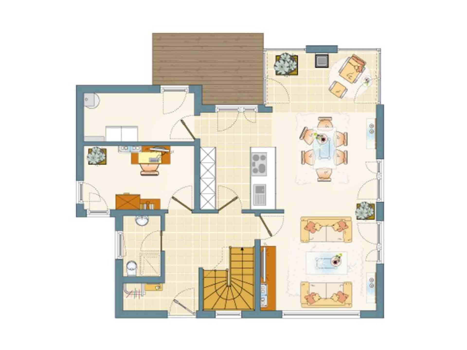 FLAIRplus – Musterhaus Marburg - Eine Nahaufnahme von einer Karte - Gebäudeplan