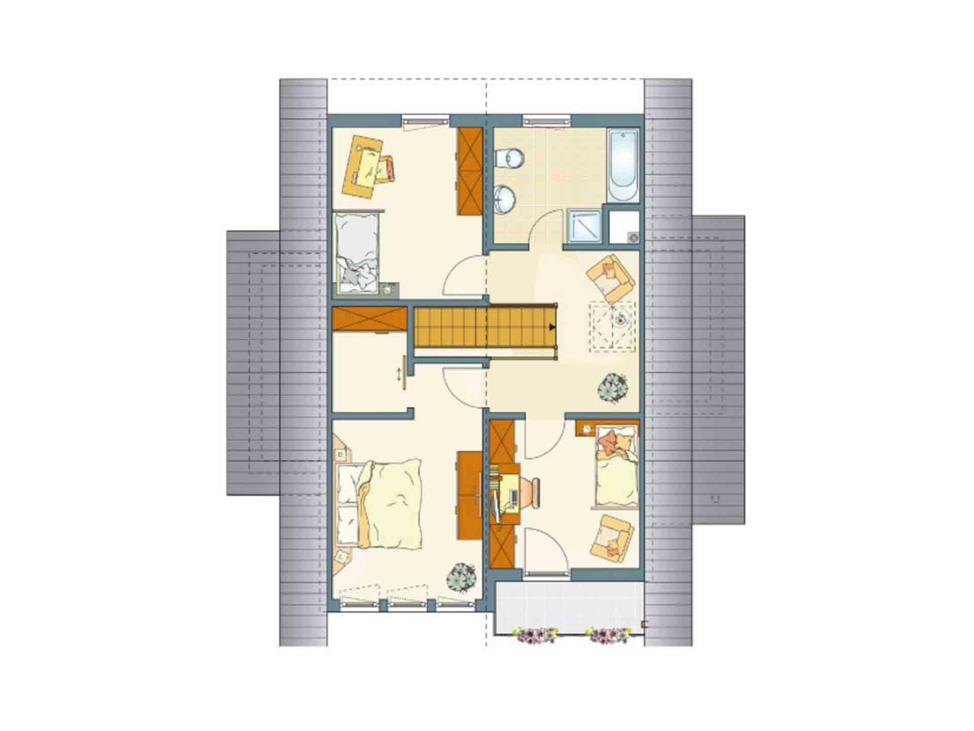 FINO 300 A – Musterhaus Würzburg - Ein Screenshot eines Videospiels - Gebäudeplan