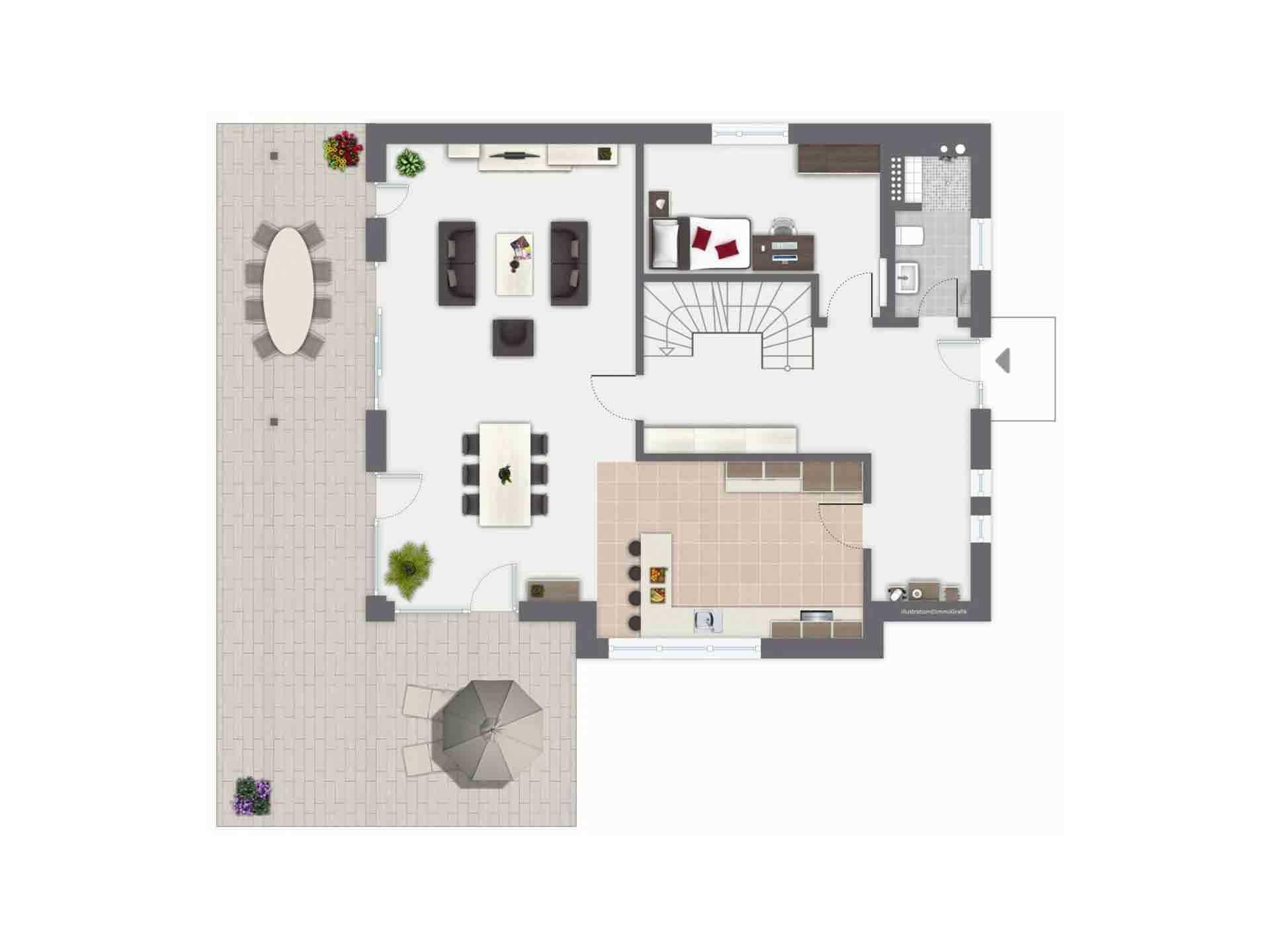 Haus Ponticelli - Eine Nahaufnahme eines Geräts - Gebäudeplan