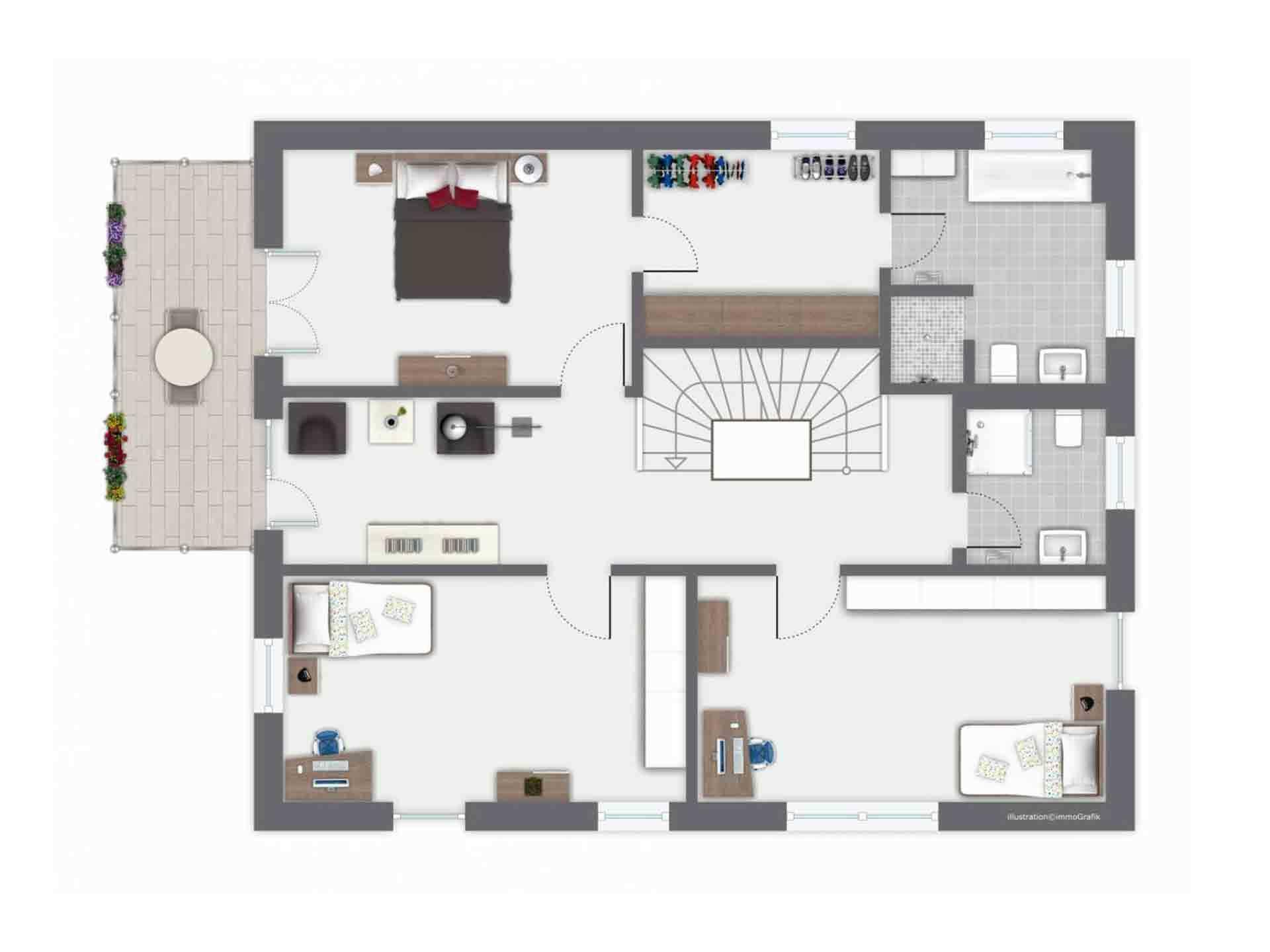 Haus Ponticelli - Ein Screenshot eines Videospiels mit Rietveld-Schröder-Haus im Hintergrund - Schlafzimmer
