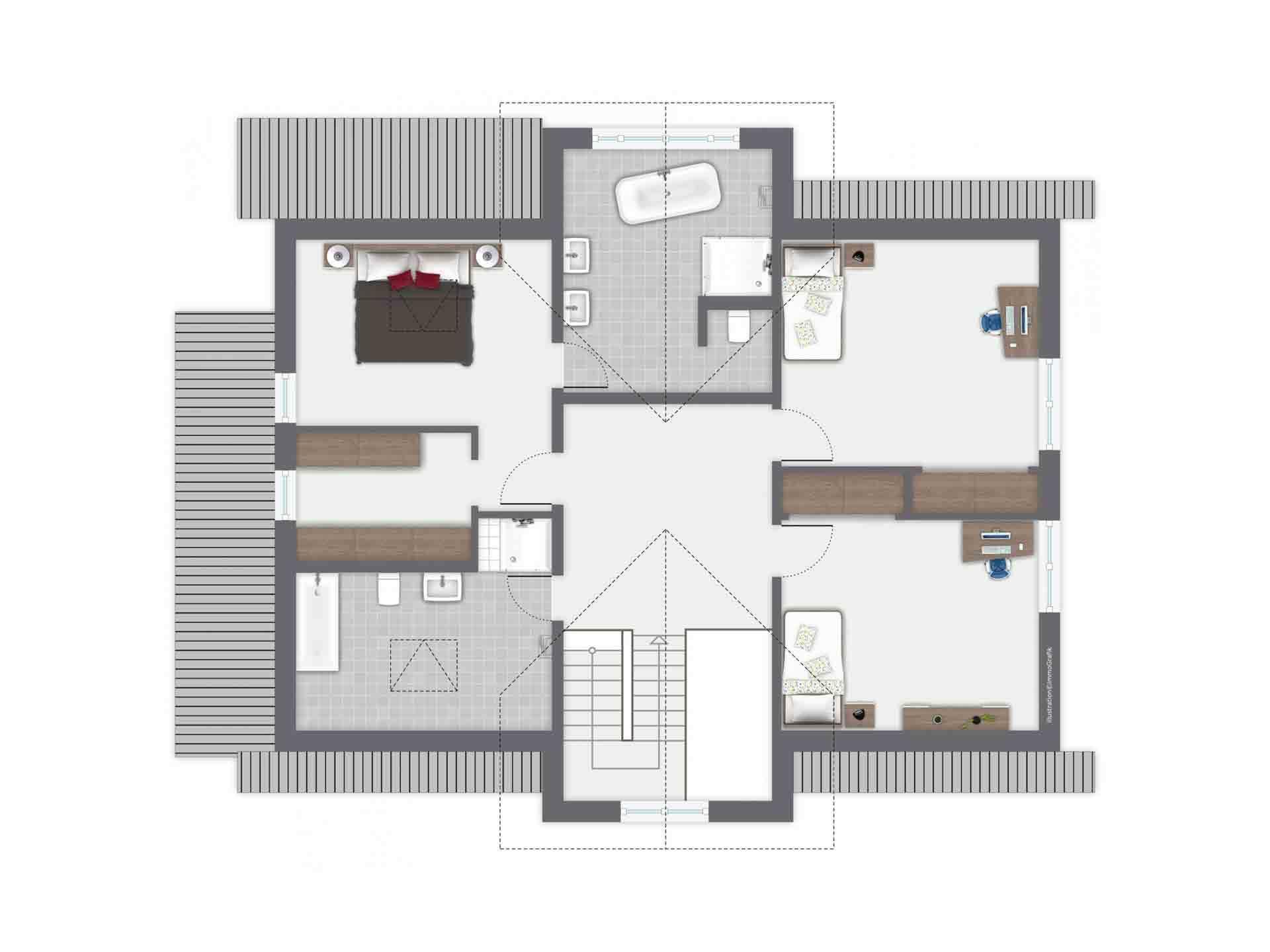 Einfamilienhaus Siebenbrunn - Eine Leiterplatte - Gebäudeplan