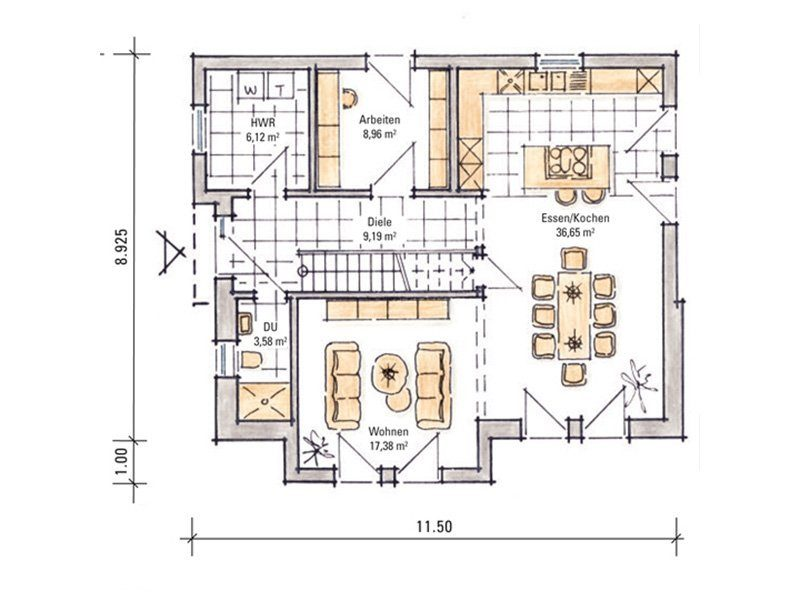 Madeleine – Musterhaus Fellbach - Eine Nahaufnahme von einer Karte - Gebäudeplan