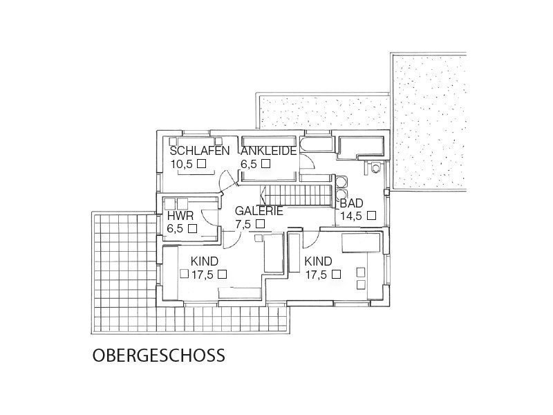 Individuelles Architektenhaus - Eine nahaufnahme von text auf einem weißen hintergrund - Gebäudeplan