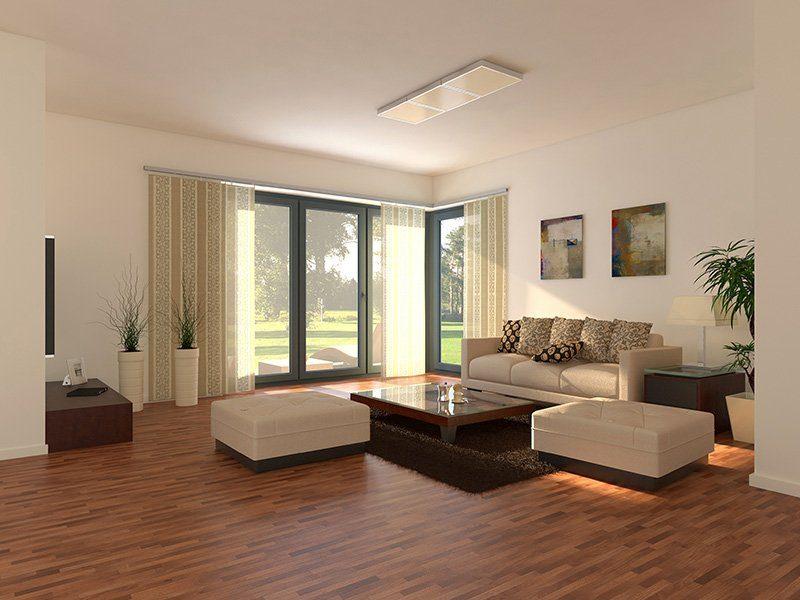 Stadtvilla Schönimquadrat - Ein Wohnzimmer mit Möbeln und einem großen Fenster - Wohnzimmer