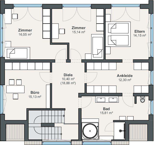 Top Smarthome Grundriss Obergeschoss