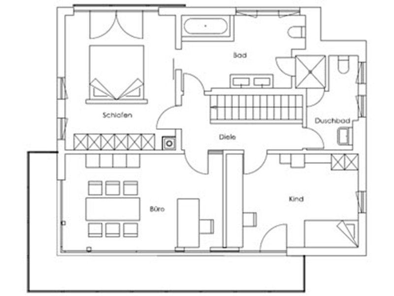 Musterhaus Fellbach - Eine nahaufnahme von text auf einem weißen hintergrund - Gebäudeplan