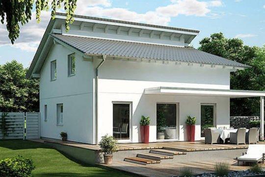 Plan E 15-111.1 - Ein großes weißes Haus - Schrägdach