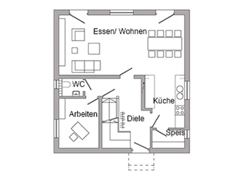 Plan E 15-111.1 - Eine Nahaufnahme einer Uhr - Gebäudeplan
