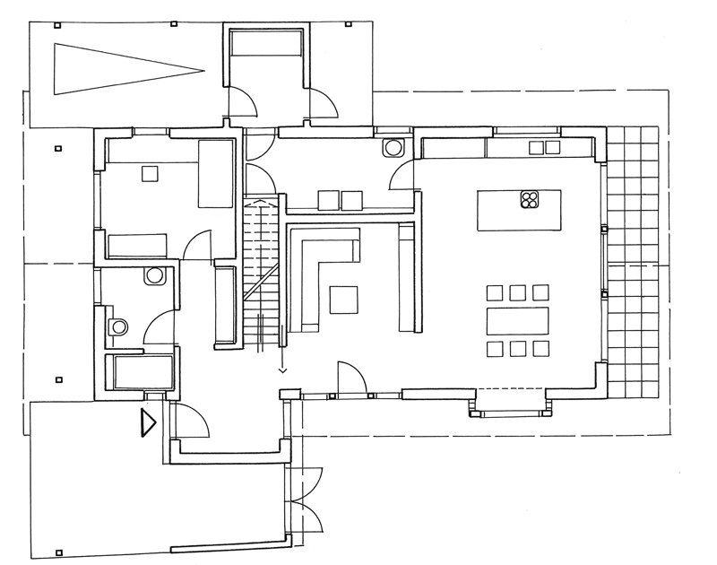 Grundriss von Haus mit Holzfassade