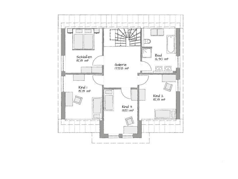Musterhaus Bad Vilbel - Eine Nahaufnahme von einer Karte - Gebäudeplan