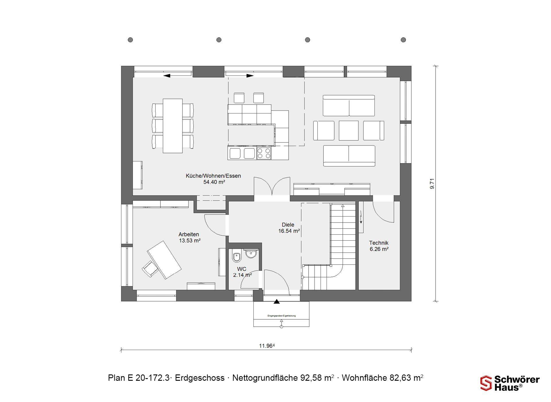Musterhaus in Suhr - Eine nahaufnahme von text auf einem weißen hintergrund - Gebäudeplan