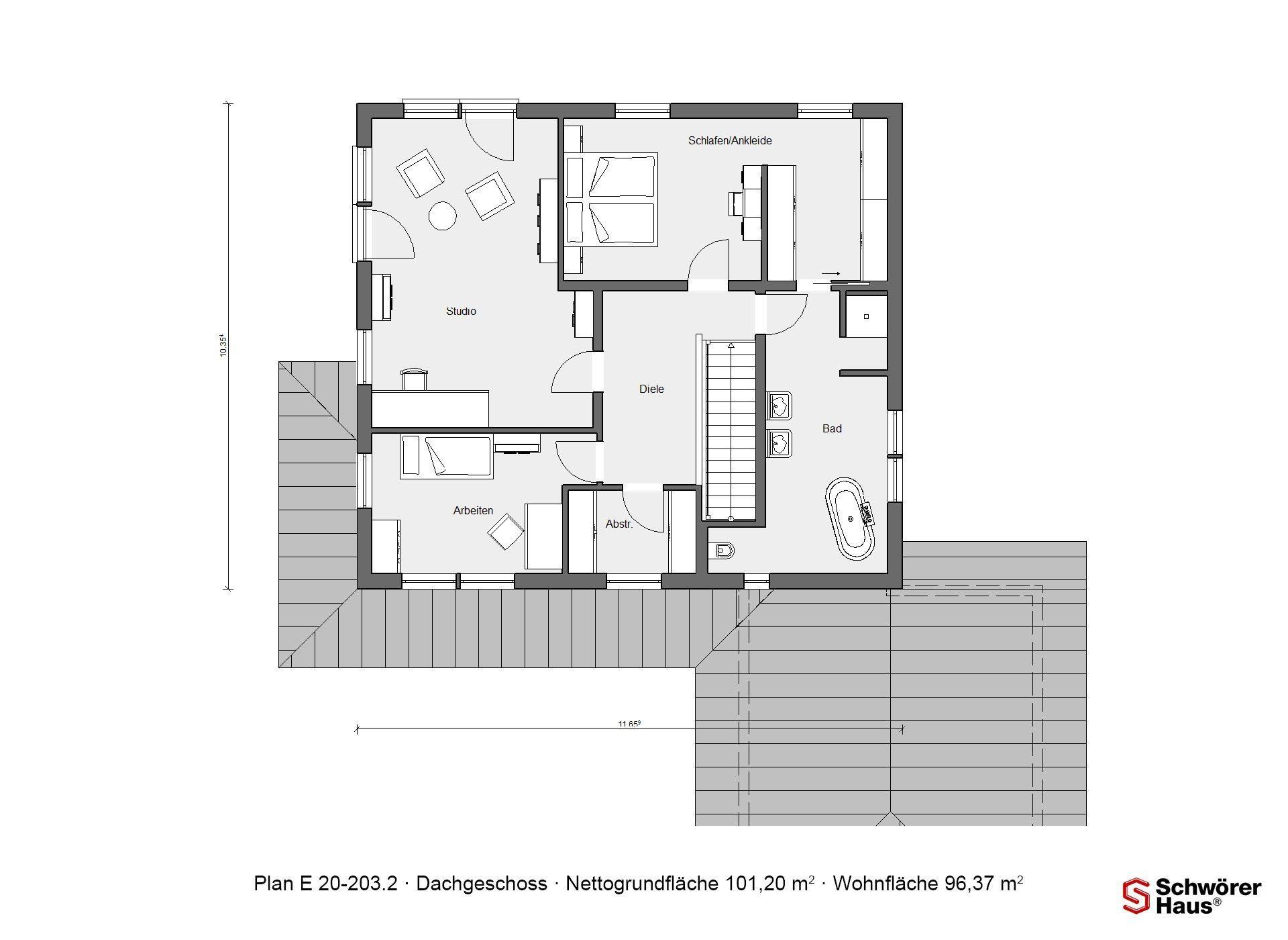 Kundenhaus Mayer-Elicker - Eine Nahaufnahme einer Uhr - Gebäudeplan