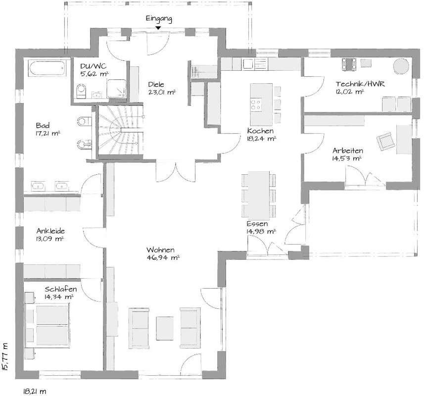Musterhaus in Langenhagen-Hannover - Eine Nahaufnahme von einer Karte - Gebäudeplan