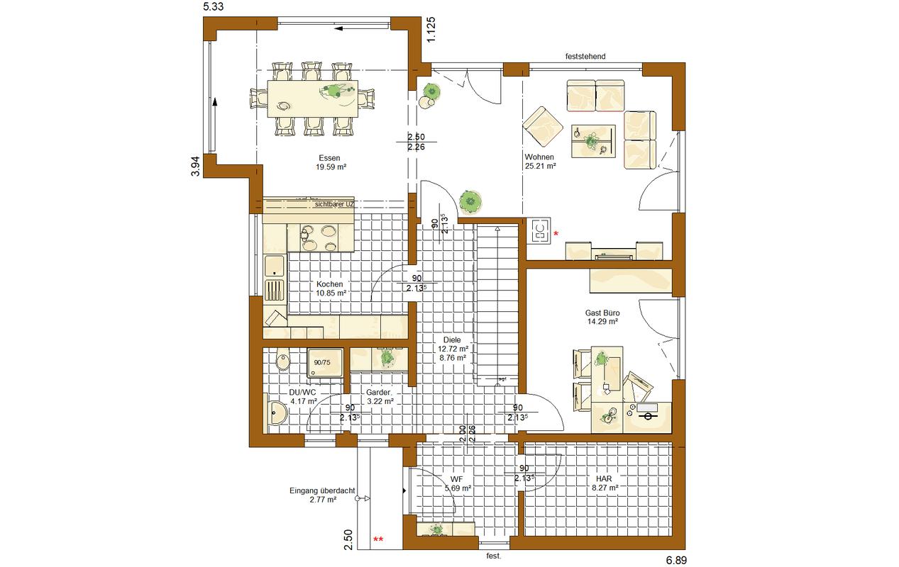 Musterhaus Modena - Eine Nahaufnahme von einer Karte - Gebäudeplan