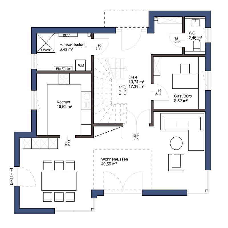 Passivhaus EOS 173 - Eine nahaufnahme von text auf einem weißen hintergrund - Gebäudeplan