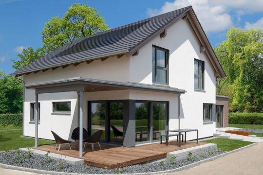 Variant 35-173 - Ein Haus, das an der Seite eines Gebäudes geparkt ist - Haus