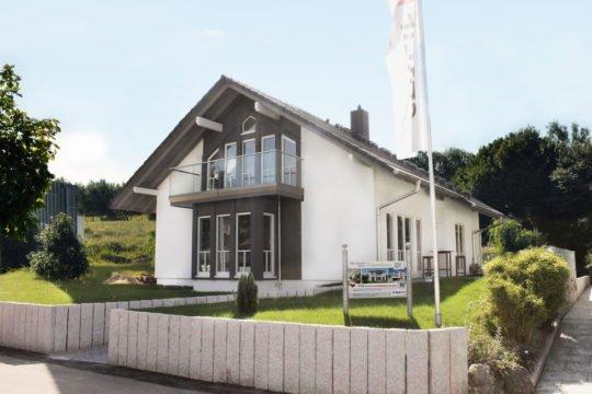 Musterhaus Fellbach - Ein Haus mit Bäumen im Hintergrund - STREIF Haus GmbH - Musterhaus - Fellbach bei Stuttgart