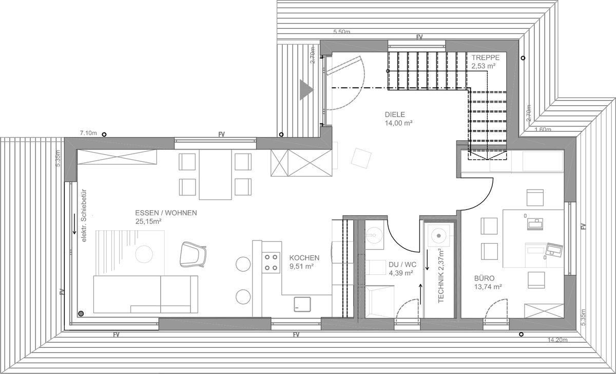 Musterhaus Fine - Eine Nahaufnahme eines Geräts - Gebäudeplan